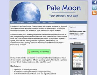 Main page screenshot of palemoon.org