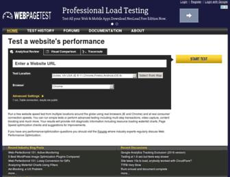 Main page screenshot of webpagetest.org