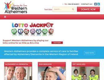 Main page screenshot of westernalzheimer.ie