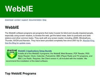Main page screenshot of webbie.org.uk