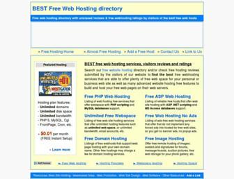Main page screenshot of best-free-web-hosting.info