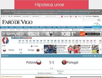 Main page screenshot of farodevigo.es