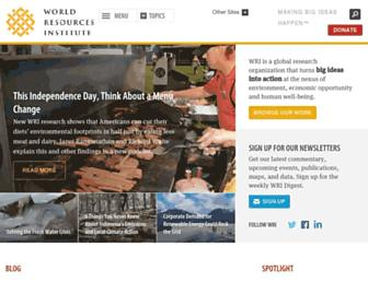 Main page screenshot of wri.org
