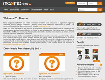 Main page screenshot of maemo.org
