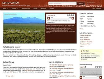 Main page screenshot of xeno-canto.org
