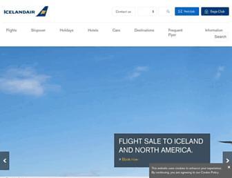 Main page screenshot of icelandair.co.uk