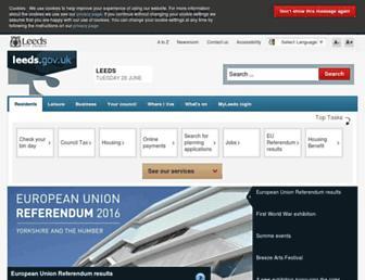 Main page screenshot of leeds.gov.uk