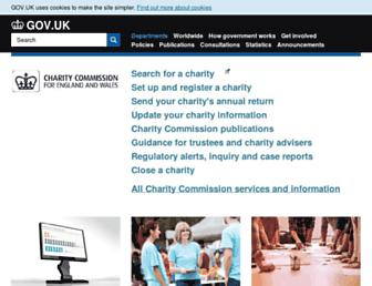 Main page screenshot of charity-commission.gov.uk