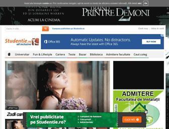 Main page screenshot of studentie.ro
