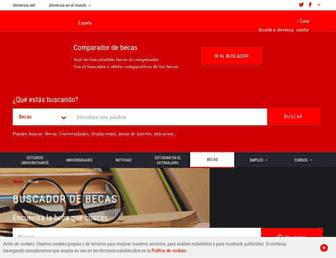 Main page screenshot of becas.universia.com.py