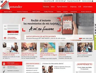 Main page screenshot of santander.cl