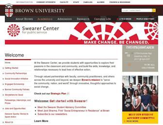 Main page screenshot of swearercenter.brown.edu