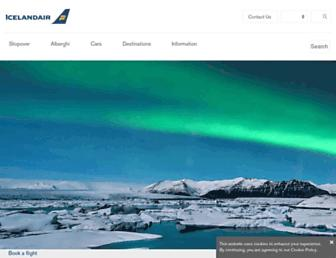 Main page screenshot of icelandair.it