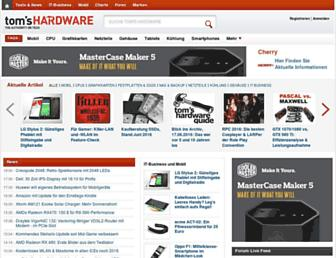Main page screenshot of tomshardware.de