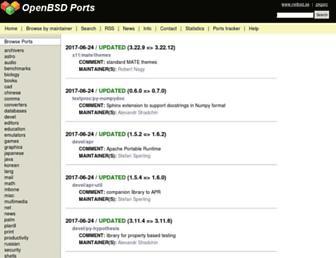 Main page screenshot of openports.se