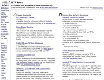 Main page screenshot of tools.ietf.org
