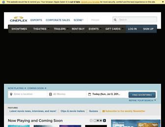 cineplex.com screenshot