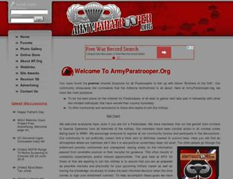 Main page screenshot of armyparatrooper.org