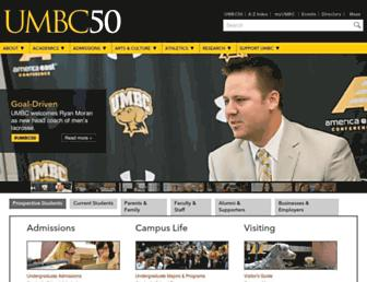 Main page screenshot of umbc.edu