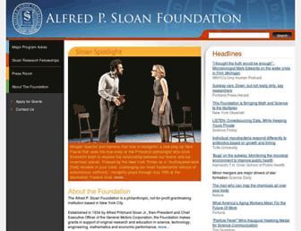 Main page screenshot of sloan.org