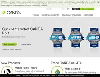 Main page screenshot of oanda.ca