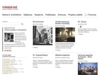 Main page screenshot of miestai.net