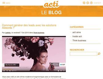 Main page screenshot of blog.acti.fr