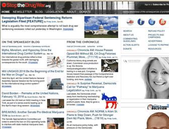 Main page screenshot of stopthedrugwar.org