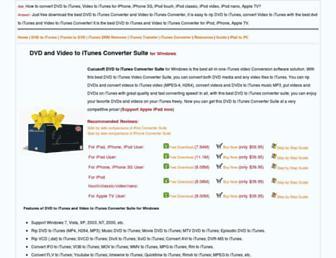 Main page screenshot of dvdtoitunes.net