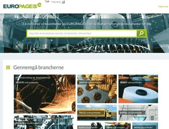 Main page screenshot of europages.dk