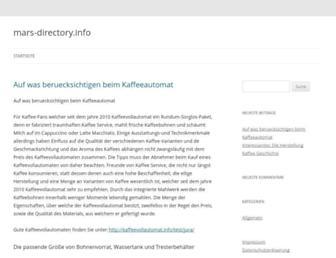 Main page screenshot of mars-directory.info