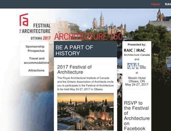 Main page screenshot of festival.raic.org