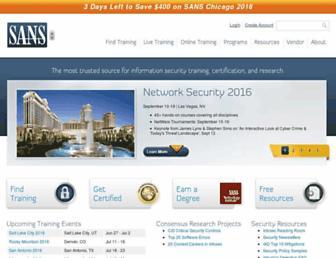Main page screenshot of sans.org