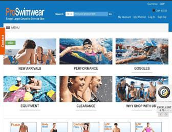 proswimwear.co.uk screenshot