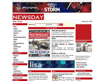 Main page screenshot of newsday.co.tt