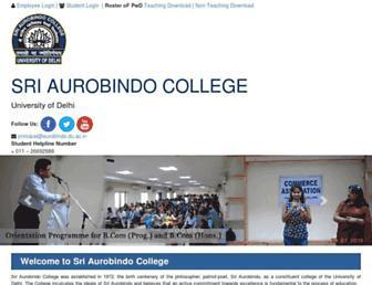 aurobindo.du.ac.in screenshot