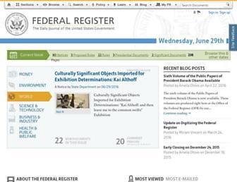 Main page screenshot of federalregister.gov