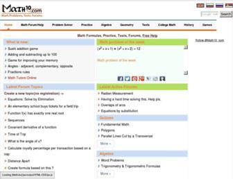 math10.com screenshot