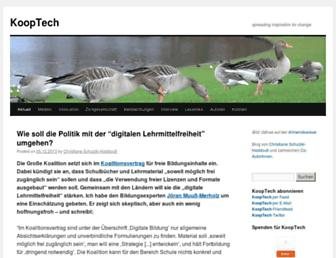 Main page screenshot of blog.kooptech.de