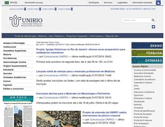 Main page screenshot of unirio.br