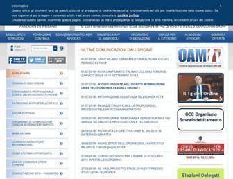 Main page screenshot of ordineavvocatimilano.it