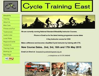Main page screenshot of cycletrainingeast.org.uk