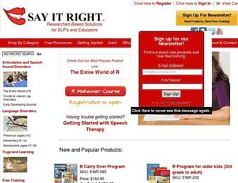 Main page screenshot of sayitright.org