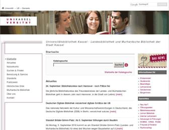 Main page screenshot of ub.uni-kassel.de