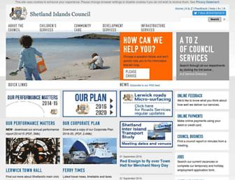 Main page screenshot of shetland.gov.uk