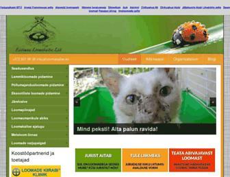 Main page screenshot of loomakaitse.eu