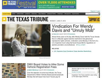 Main page screenshot of texastribune.org