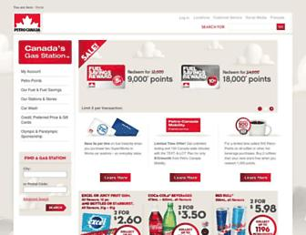 Main page screenshot of retail.petro-canada.ca