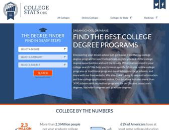Main page screenshot of collegestats.org