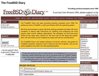 Main page screenshot of freebsddiary.org